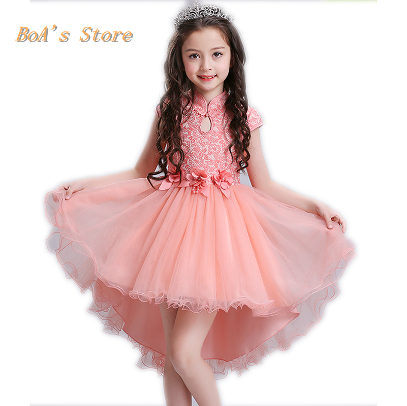 Princess Flower Pink Girl Dress Summer Autumn Wedding Birthday Party Dresses For Girls Children's Costume Teenager Prom Designs princess dress rose flower girl dress summer wedding birthday party dresses for girls children s costume teenager prom dress