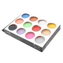 12pcs Nail Acrylic Powder 12 Colors Shiny Flour Set Nail 3D 3D Decoration Polymer Manicure Tips Decoration Builders Powder