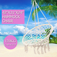 Nordic Round Hammock Outdoor Indoor Hammocks Chair Dormitory Bedroom Swinging Hanging Chair Single Safety Garden Hammock White