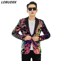 Men Flipping sequins Pink Suit Jackets Glittering paillette Blazers Coat Nightclub Singer Vocal Concert Stage Costume Host Show
