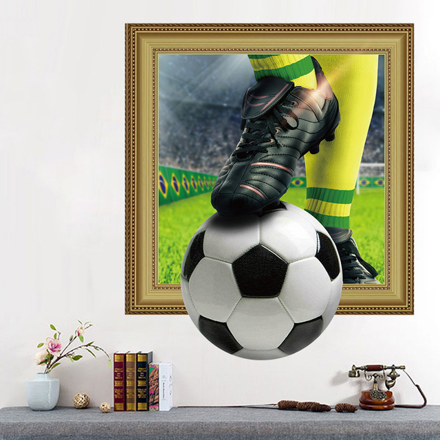 . US  3 99  Playing Football Wall Stickers Home Decor Cup Football Ball  Soccer Playground Landscape Wallpaper Murals Vinyl Wall Art Decal in Wall