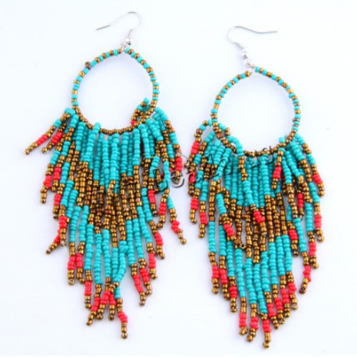Fashion jewelry Statement Earring Drop Earring Bohemian style Glass Seed Beads e
