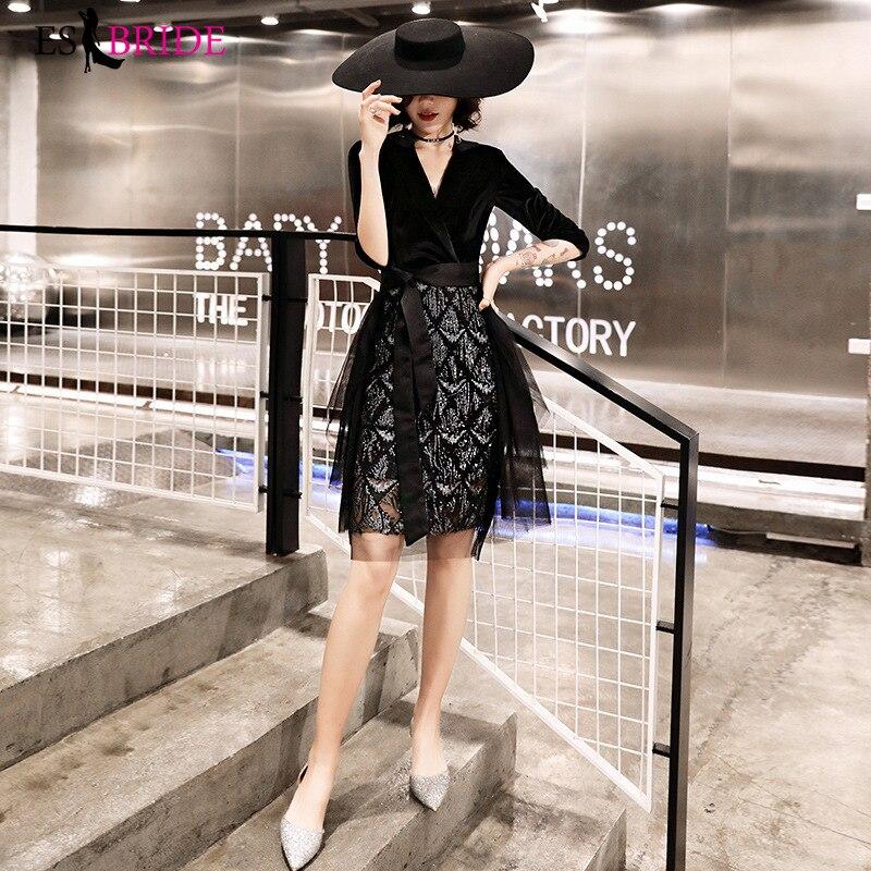 2019 Evening Gowns For Women Party Princess Special Occasion Dress Sexy V-neck Short Evening Dresses Black Evening Dress ES2453