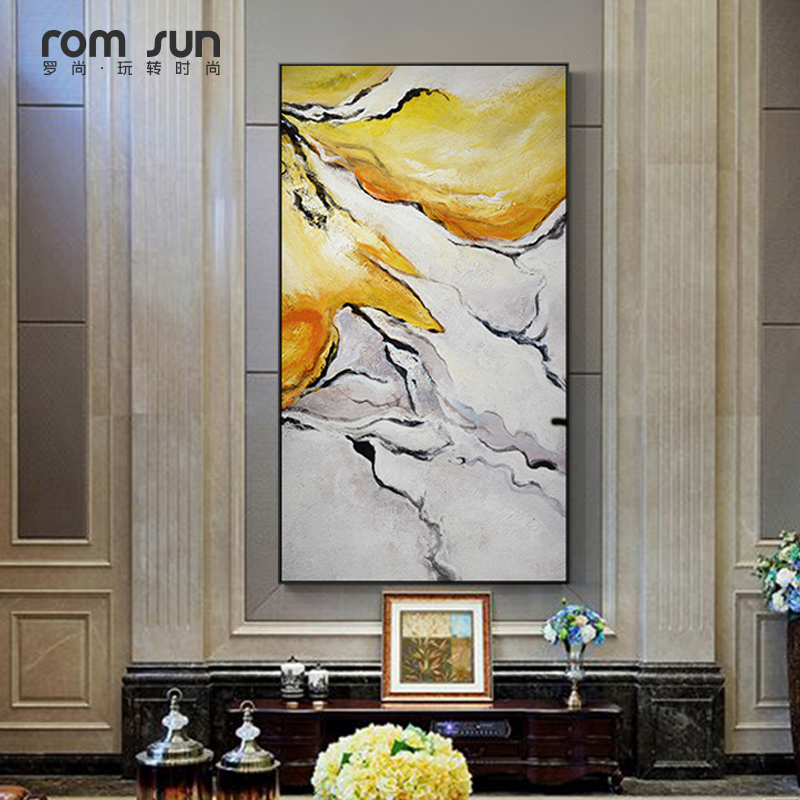 Abstract Yellow And White Marble Pattern Canvas Painting
