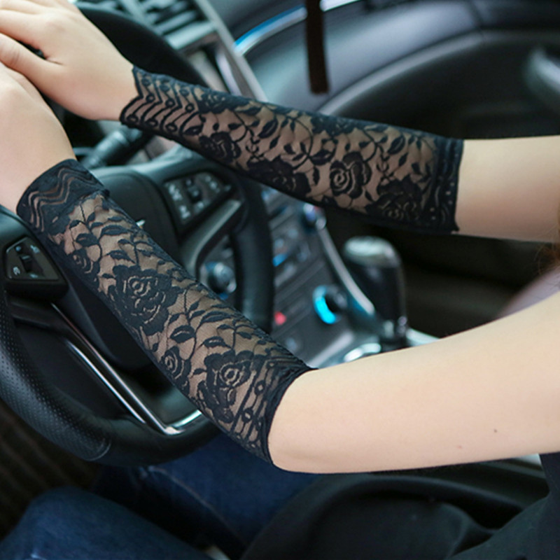 Summer Women Black Rose Floral Arm Sleeves Tattoo Arm Sleeve Scar Cover Sun Protection Anti UV Fingerless Gloves Arm Warmer