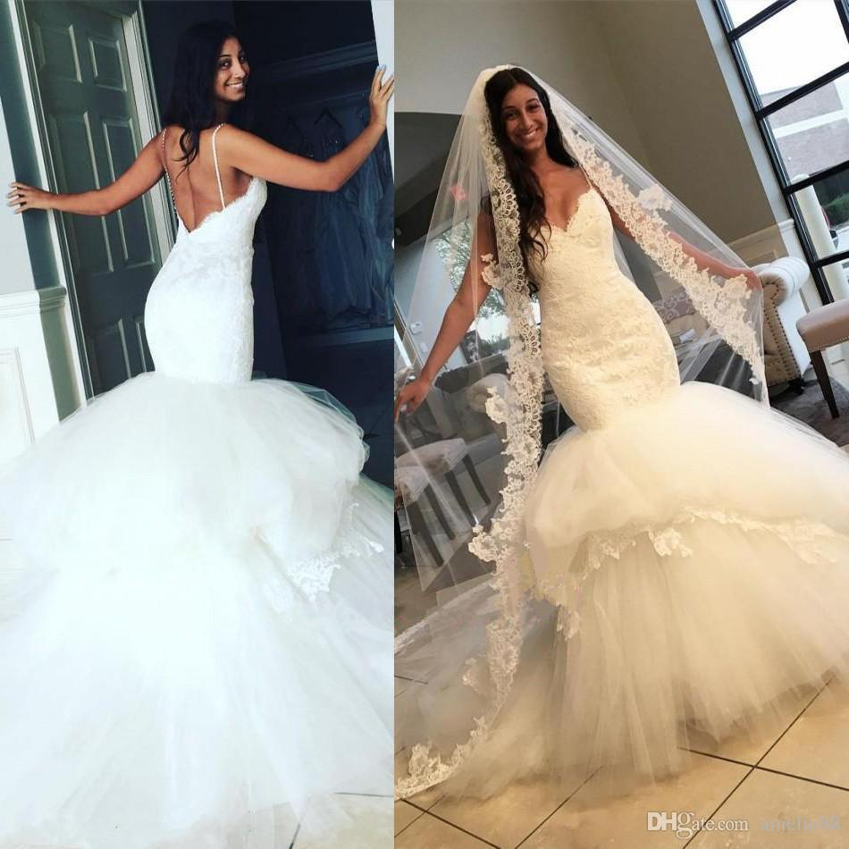 Lace Mermaid Wedding Gown With Straps: Sexy Spaghetti Straps 2017 Mermaid Lace Wedding Dresses