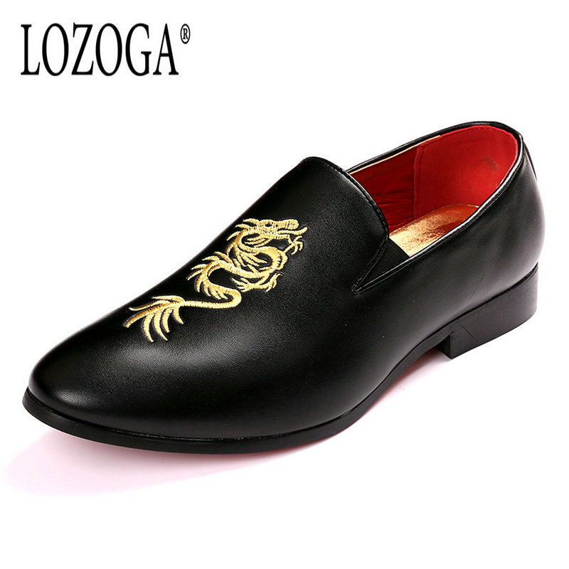 LOZOGA New Men Shoes Loafers PU Leather Embroidery Blue Rose Fashion Casual Shoes Slip-On Height Increased Autumn Luxury Shoes 2017 new spring imported leather men s shoes white eather shoes breathable sneaker fashion men casual shoes