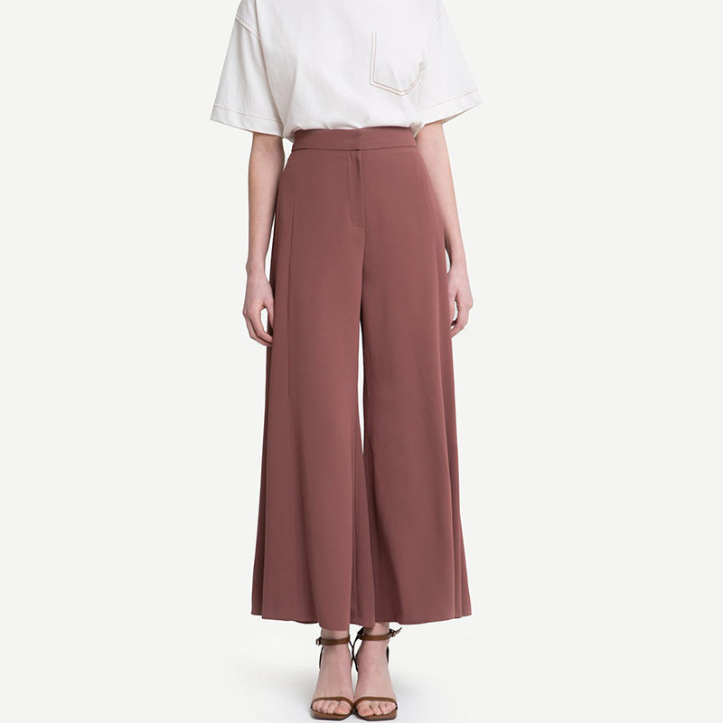 HDY Haoduoyi Woman 2019 New High Waist Wide Leg Loose Pants Solid Office Lady Brief Trousers For Female 9