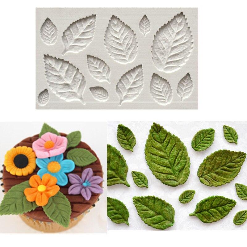 Rose Leaf Leaves Fondant Cake Silicone Molds Flower Cupcake Decorating Mould Baking Tools Chocolate Cozinha  Confeitaria