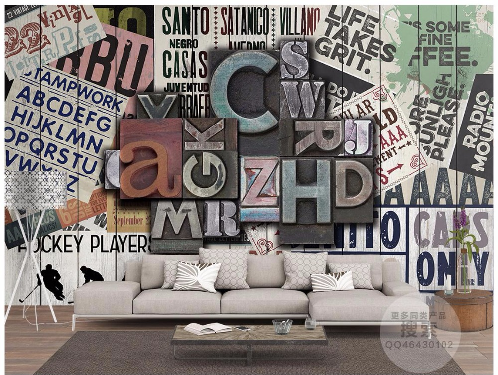 3D wallpaper custom 3d picture murals 3d wall paper mural Stereo metal letter wallpaper  ...