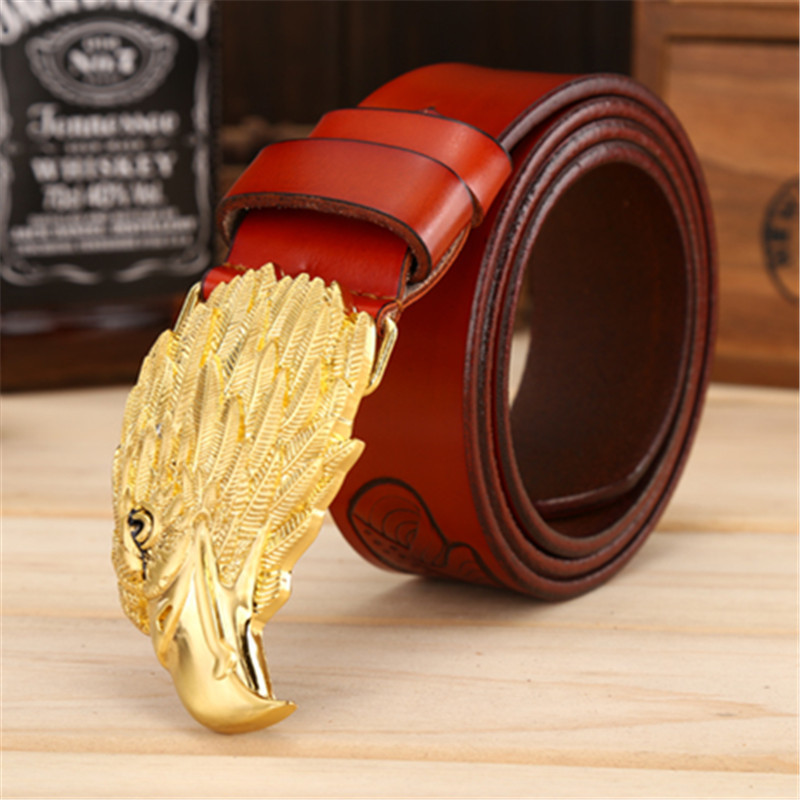 Fashion Men's Cowhide Leather Belts Luxury Eagle Head Smooth Buckle Belts High Quality Eagle Printing Belt Width 3.8 CM