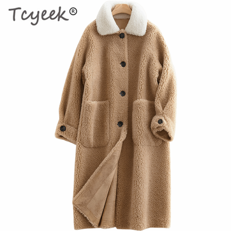 Tcyeek Winter Sheep Shearing Jacket Women Clothes 2019 Koresan Real Fur Coat Female Thick Warm Long Jackets Hiver Coats F28018-C