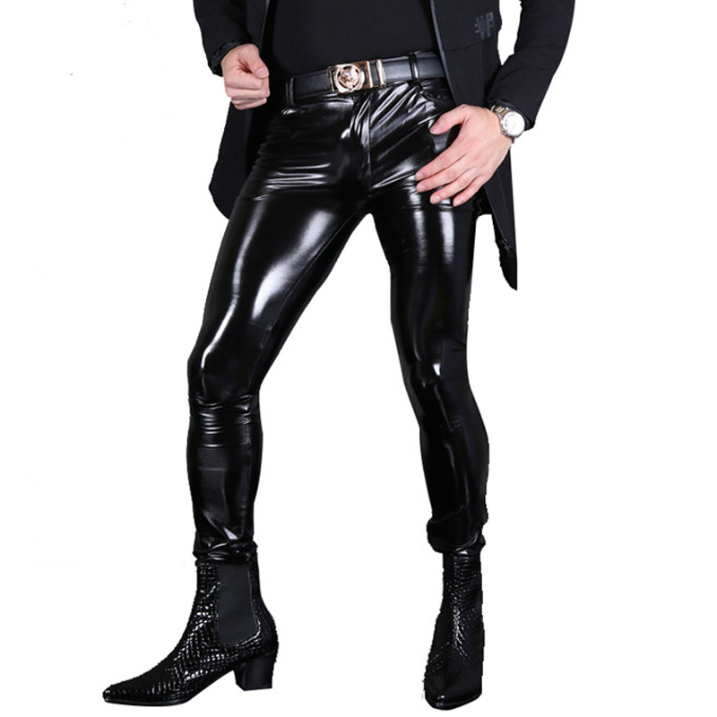Sexy Men Fashion PVC Shiny Skinny Faux Leather Pants For Men Sexy Wet Look Glossy Style Pencil Pants Gay Wear F130