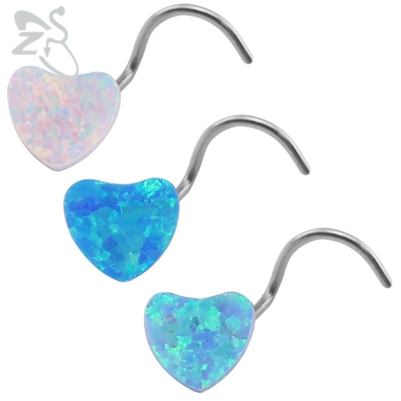 Opal Nose Studs Heart Nostril Piercing Surgical Steel Blue Opal Stone Nose Piercing Nez Rings Women Body Jewelry