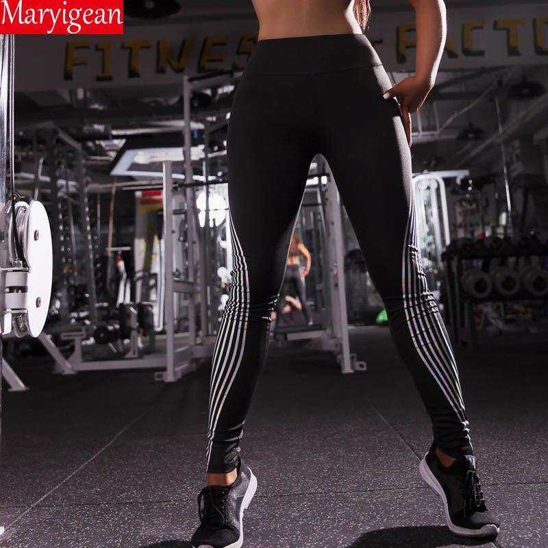 Maryigean Woman Fitness Leggings High Elastic Push Up Laser Leggins Workout Slim Fit Women Pants Black Trousers Casual Leggings