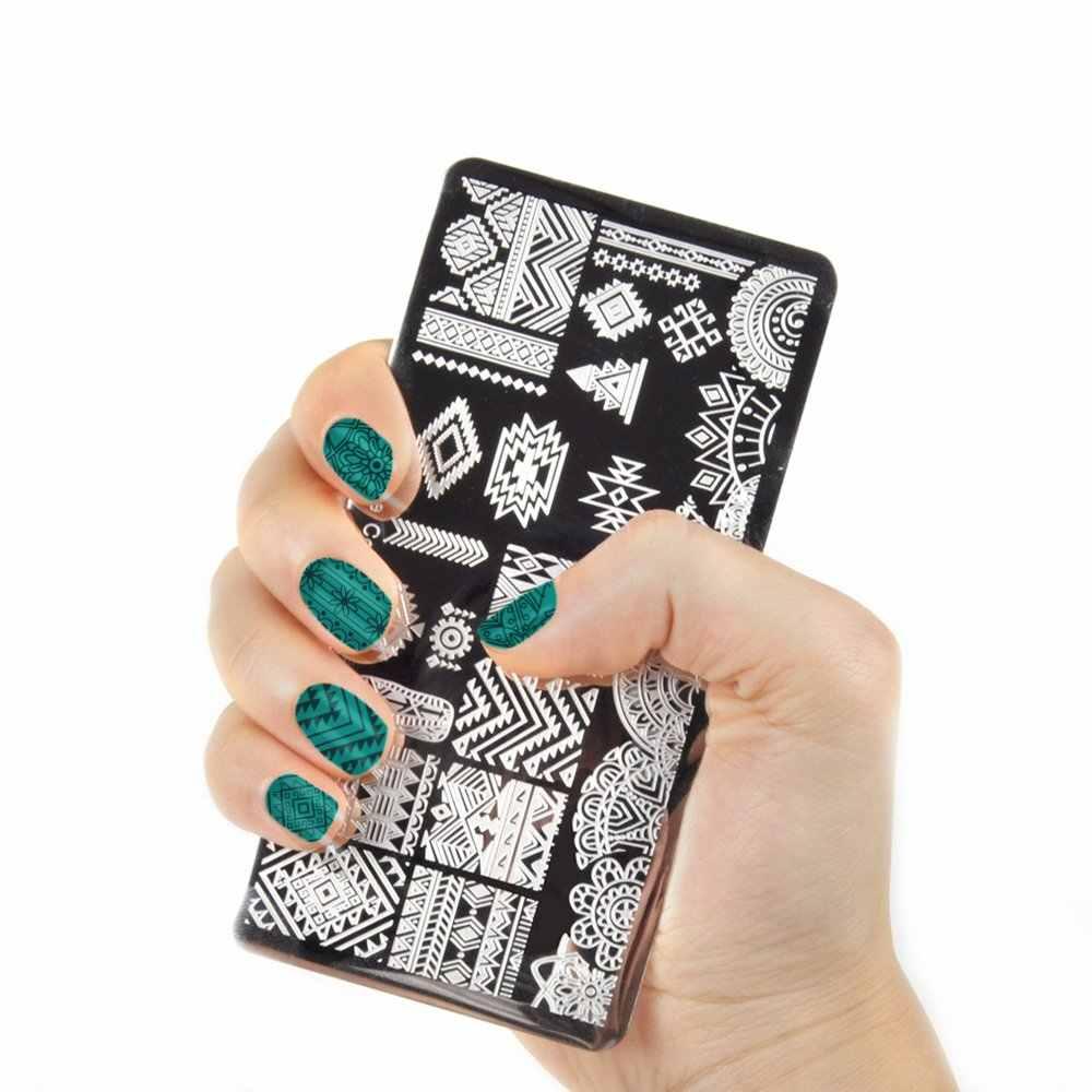 Biutee 19 pièces ensemble de plaques de timbre à ongles 15 plaque 1 tampon 2 grattoir 1 sac de rangement ongles Art estampage plaque grattoir Stamper fleur ensemble