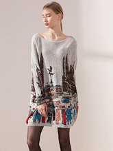 Long Sleeve Womens Printed Woolen Cashmere Pull Over Cozy Sweater Dress Autumn/Fall Maternity Jumper Oversize Knitwear