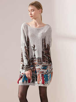 Long Sleeve Women\'s Printed Woolen Cashmere Pull Over Cozy Sweater Dress Autumn/Fall Maternity Jumper Oversize Knitwear