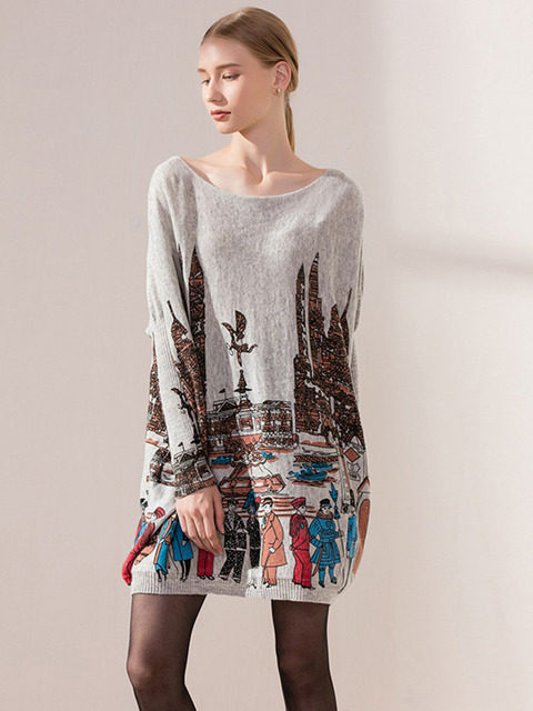 e029c6cdd32 Long Sleeve Women s Printed Woolen Cashmere Pull Over Cozy Sweater Dress  Autumn Fall Maternity Jumper