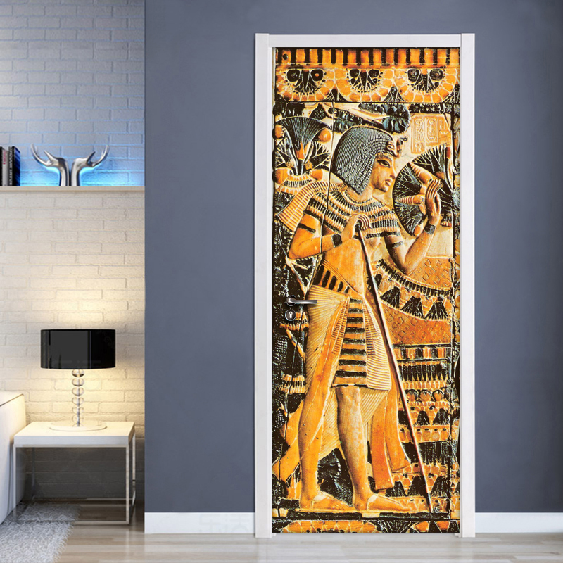 Door Sticker Waterproof Self-adhesive Mural Wallpaper Egyptian Pharaoh Wall Painting Living Room Bedroom Door Stickers Decor 3D