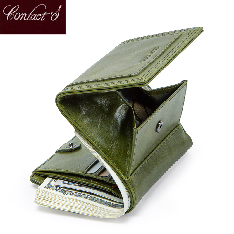 Contact's Lady Short Women Wallets Genuine Leather Coin Purse Card Holder Small Purses Female Wallet Carteira High Quality
