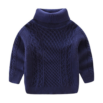 Turtleneck Knitted Sweater Girls Cotton Warm Soft Sweater Boys Jumper Sweaters Autumn Kids Clothes Winter Wool Blend Childrens