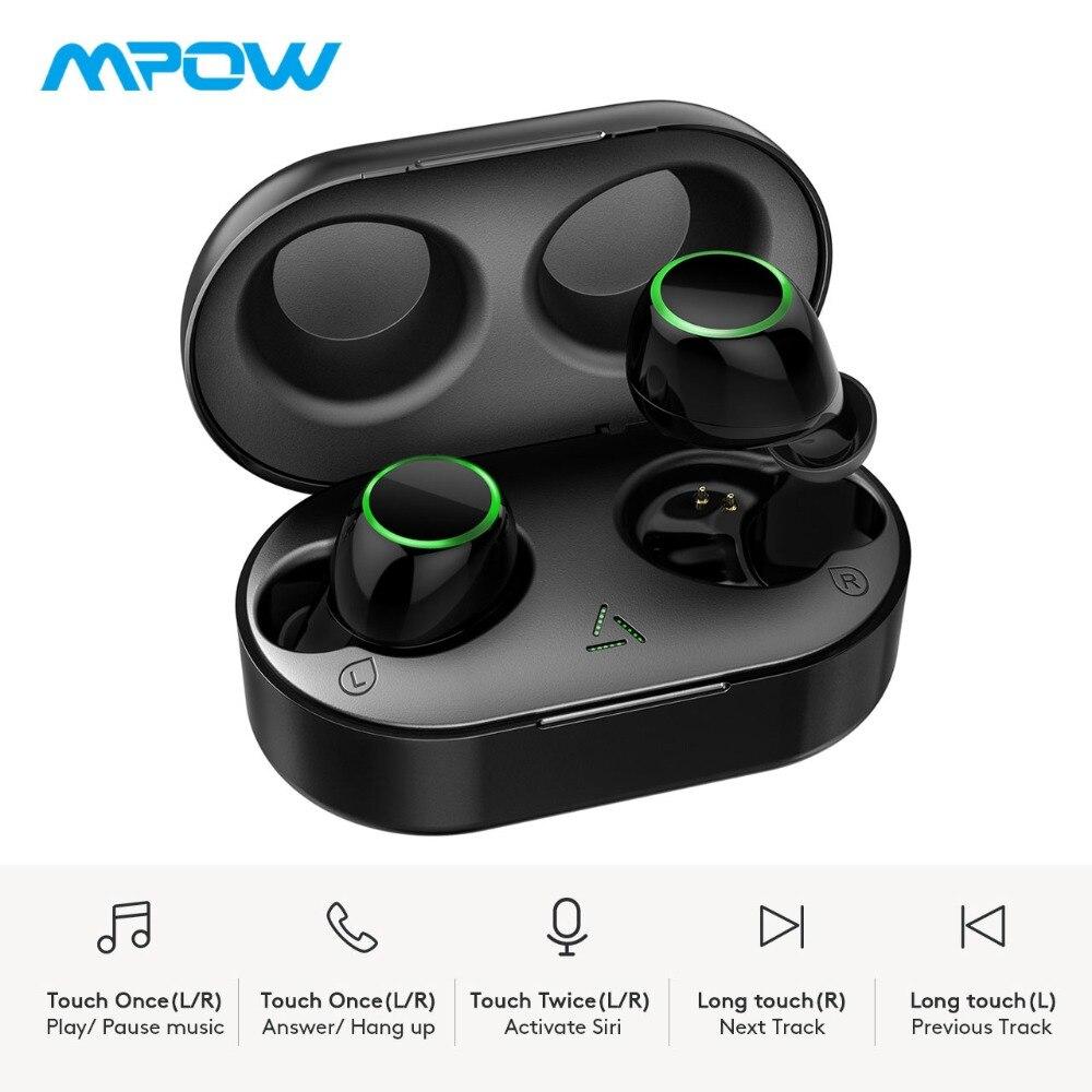 Écouteurs sans fil Mpow T6 à commande tactile Unique Bluetooth 5.0 écouteurs stéréo 21H Playtime 3D avec micro et étui de charge