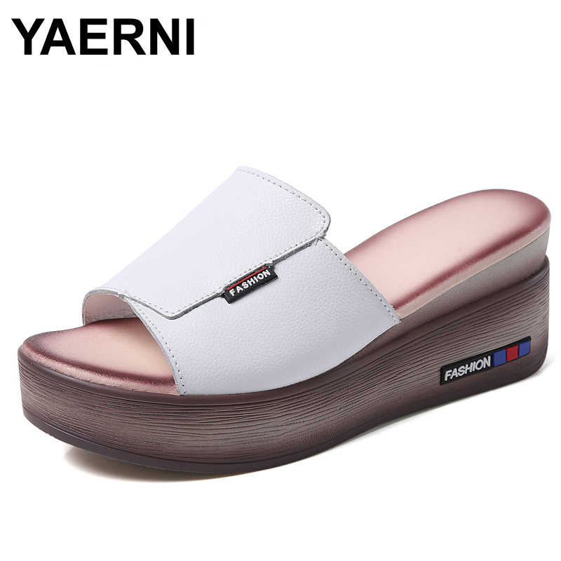 YAERNI Women Wedges Genuine Leather Shoes Women Hight Heels Slippers Off White Shoes Sunnmer Platform Shoes Ladies Casual Shoes