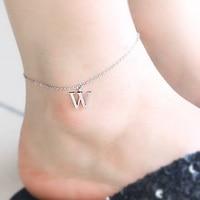 Inicial de prata charme tornozeleira tornozeleiras carta pequeno da placa de identificação jóias