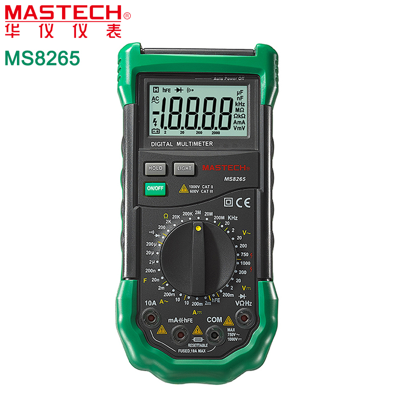 MASTECH MS8265 AC DC Volt Ampere Ohm Capacitance Frequency Tester Meter Transistor Continuity Diode Tester мультиметр uyigao ac dc ua18