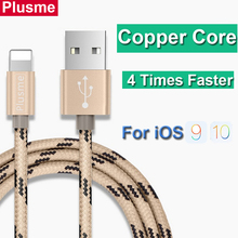 PLUSME Fast Charging Micro Usb Cable Nylon Copper Core Alloy 1M 2M Mobile Phone Charger Cable For iPhone 5 5S 6 6S 7 Plus iPad
