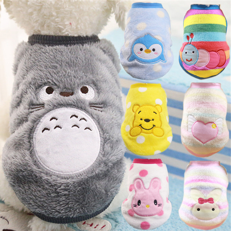 Winter Warm Cartoon Pet Clothes For Small Dogs Cats Soft Fleece Cat Dog Coat Jacket Puppy Clothing Outfits Chihuahua Pug Costume
