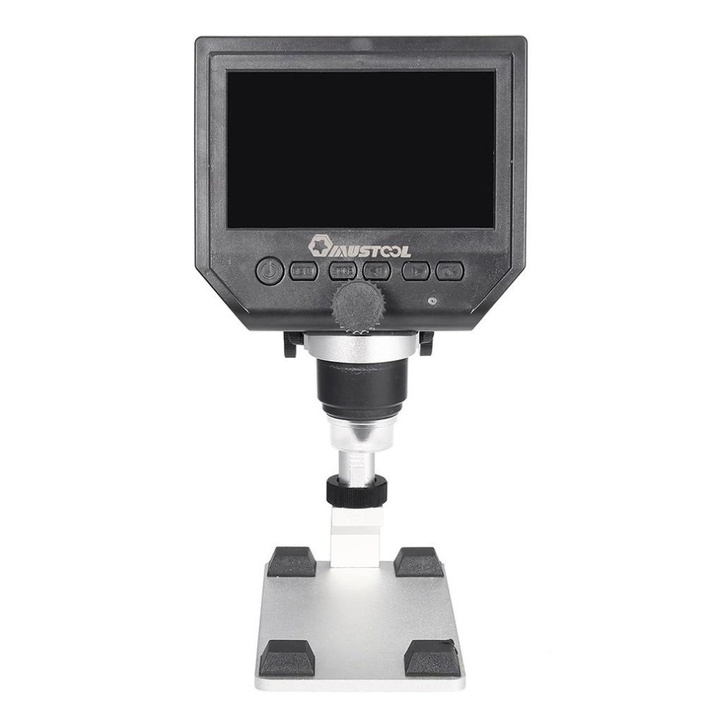 Generoso Microscopio Usb Digital 600x4,3 Pantalla Lcd Monitor Electrónico Lupa 3.6mp Ccd Ajustable 8 Ledes
