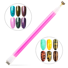 Pink Flower Pattern Cat Eye Magnetic Stick Double-ended Magnet Pen Manicure Nail Art Tool LCC