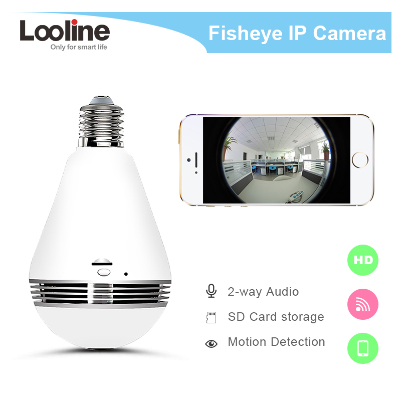 Bulb Lamp Wireless Camera Fisheye 360 Degree Video Camera  Looline 1.3MP CCTV Home Security 3D VR Panoramic  Surveillance Camera