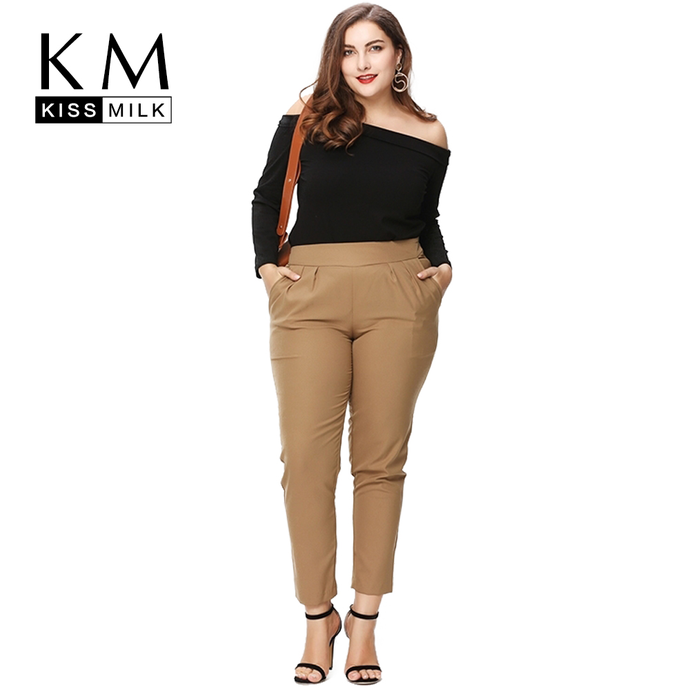 34c39e20e30 Kissmilk Plus Size New Fashion Women Clothing Basic Streetwear OL Pants  Solid Elegant Big Size Pants Trousers 3XL 4XL 5XL 6XL-in Pants   Capris  from Women s ...