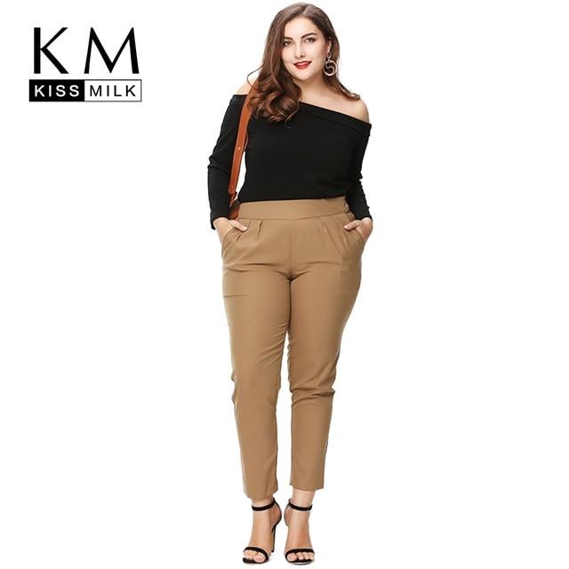 c2c0da49a1d Kissmilk Plus Size New Fashion Women Clothing Basic Streetwear OL Pants  Solid Elegant Big Size Pants