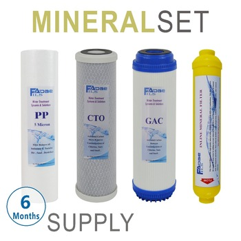 "6 Months Remineralization Reverse Osmosis / Under Sink Replacement Filter Sets - 4 Filters 10"" PP+GAC+CTO+Inline Mineral Filter"