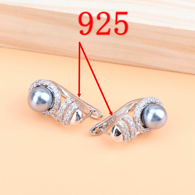 Kostüm Hochzeit Zirkon Silber 925 Perle Schmuck Sets Ohrringe Halskette Ring Armband Für Frauen Perlen Braut Set Geschenk Box