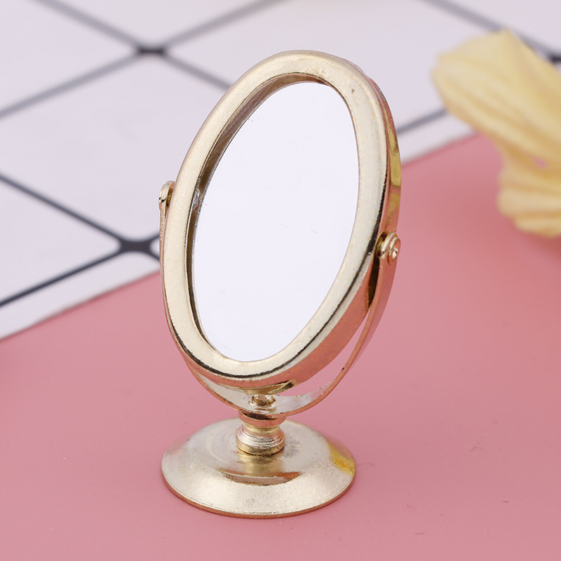 Doll House Miniature Vintage Gloden Vanity Mini Mirror 1/12 Scale Dolls Bathroom Furniture Toy Accessories