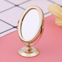 بيت الدمية مصغرة خمر Gloden الغرور مرآة صغيرة 1/12 مقياس الدمى أثاث لعبة الحمام الملحقات