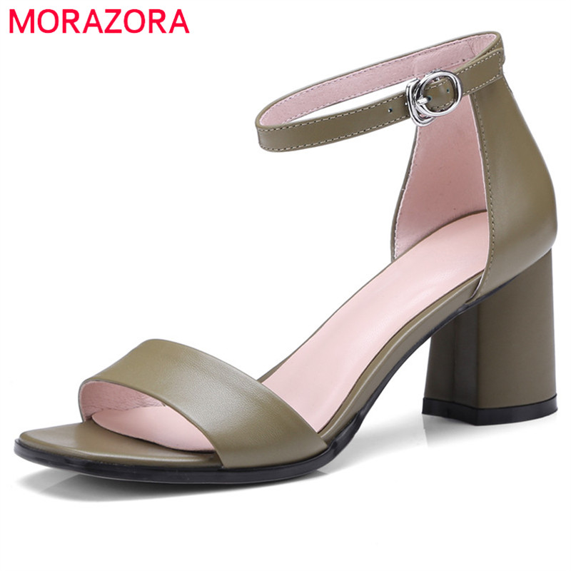 MORAZORA 2018 new women sandals simple buckle summer shoes top quality genuine leather fashion casual shoes high heel shoes new women sandals low heel wedges summer casual single shoes woman sandal fashion soft sandals free shipping