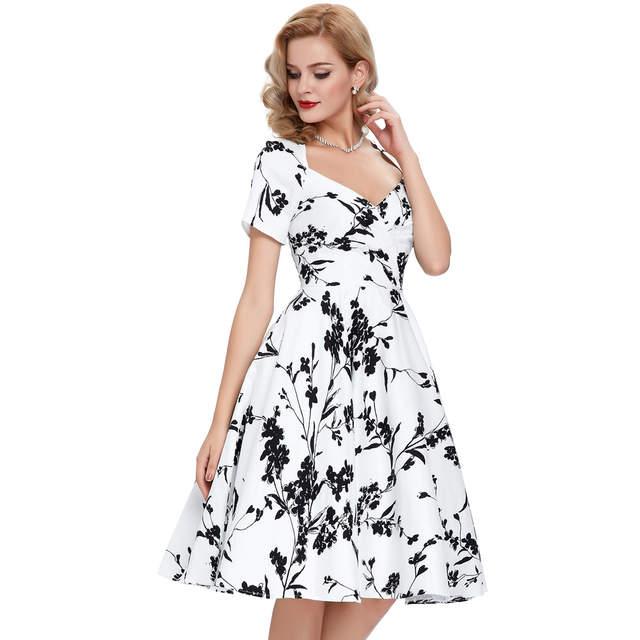 f2b2d0d979e Casual Retro Women Dresses Rinup Rockabilly 50s Vintage Dress Floral Summer Dress  Short Sleeve Hollow Vestidos
