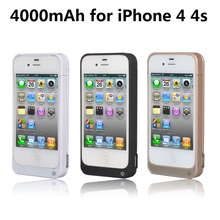 Free shipping New 4000mAh External Backup Battery Charger Power Case for iPhone 4 4s Power Bank Mobile Charger Case