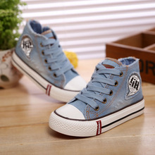 Size 25-37 Fashion Children Shoes Lace-up Kids Canvas Sneakers Boys Jeans Flats Girls Boots Casual Little Big Boy Girls Shoes