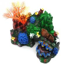 Multicolor Aquarium Artificial Mounted Resin Coral Reef Fish Cave Tank Underwater Decor Ornament