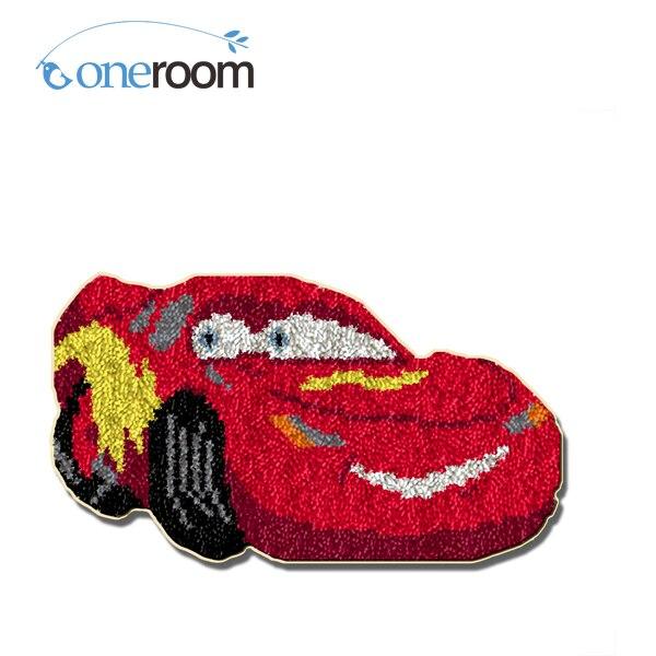 ZD423 Red Car Hook Rug Kit DIY Unfinished Crocheting Yarn