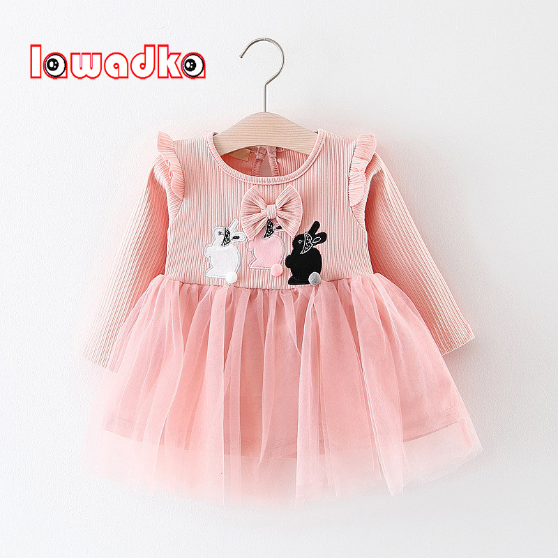 Lawadka Bow Baby Dress Girls Cute Rabbit Cotton Cartoon Baby Girls Party Dress Kid Princess Infant Dresses Children Clothes