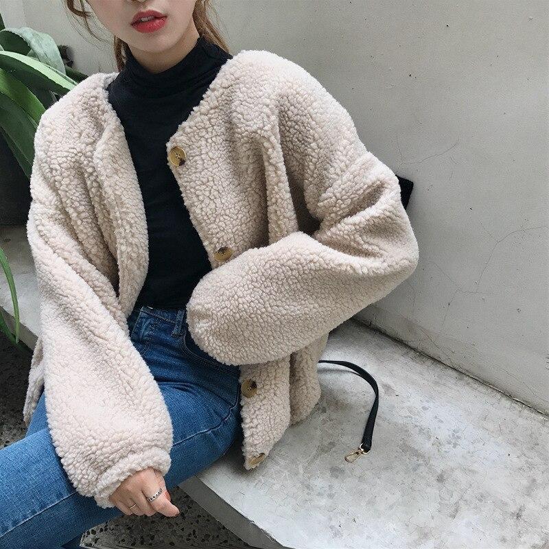 women autumn winter faux fur coat solid single breasted fluffy shaggy jackets ladies warm thicken lambswool ocats outwear