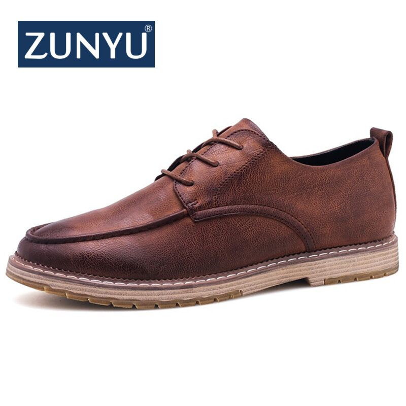 ZUNYU 2018 Autumn New Casual Shoes Mens Leather Flats Lace-Up Shoes Simple Stylish Male Shoes Large Sizes Oxford Shoes For Men недорго, оригинальная цена